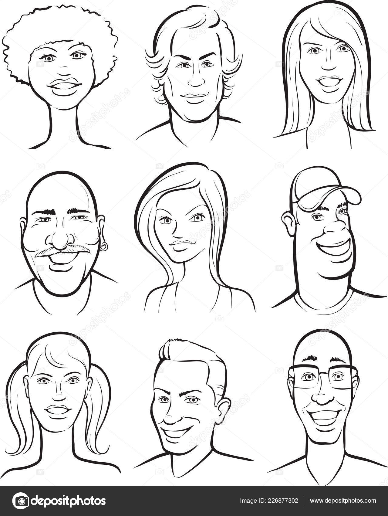 whiteboard drawing smiling people faces collection stock vector