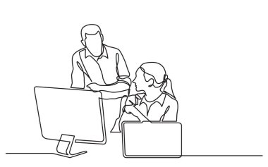 continuous line drawing of office workers discussing problem