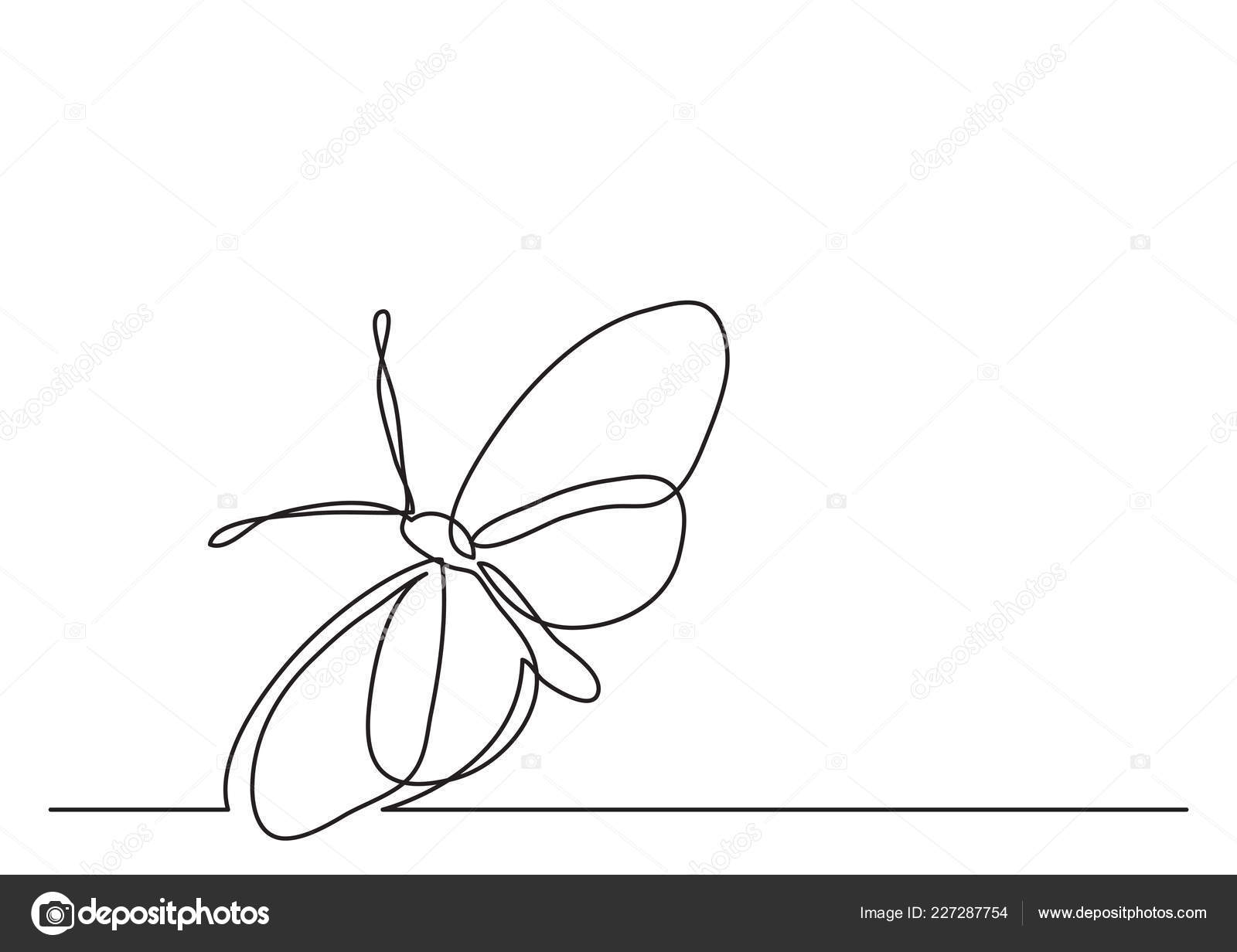 Single line drawing butterfly stock vector