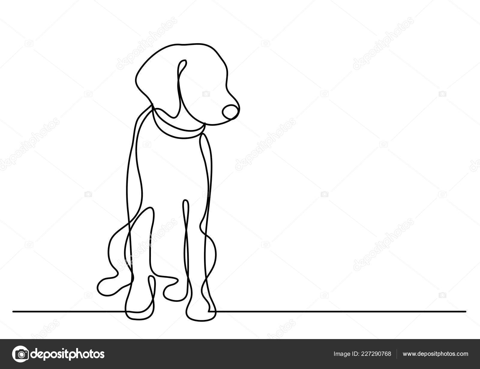 Continuous Line Drawing Cute Dog ...