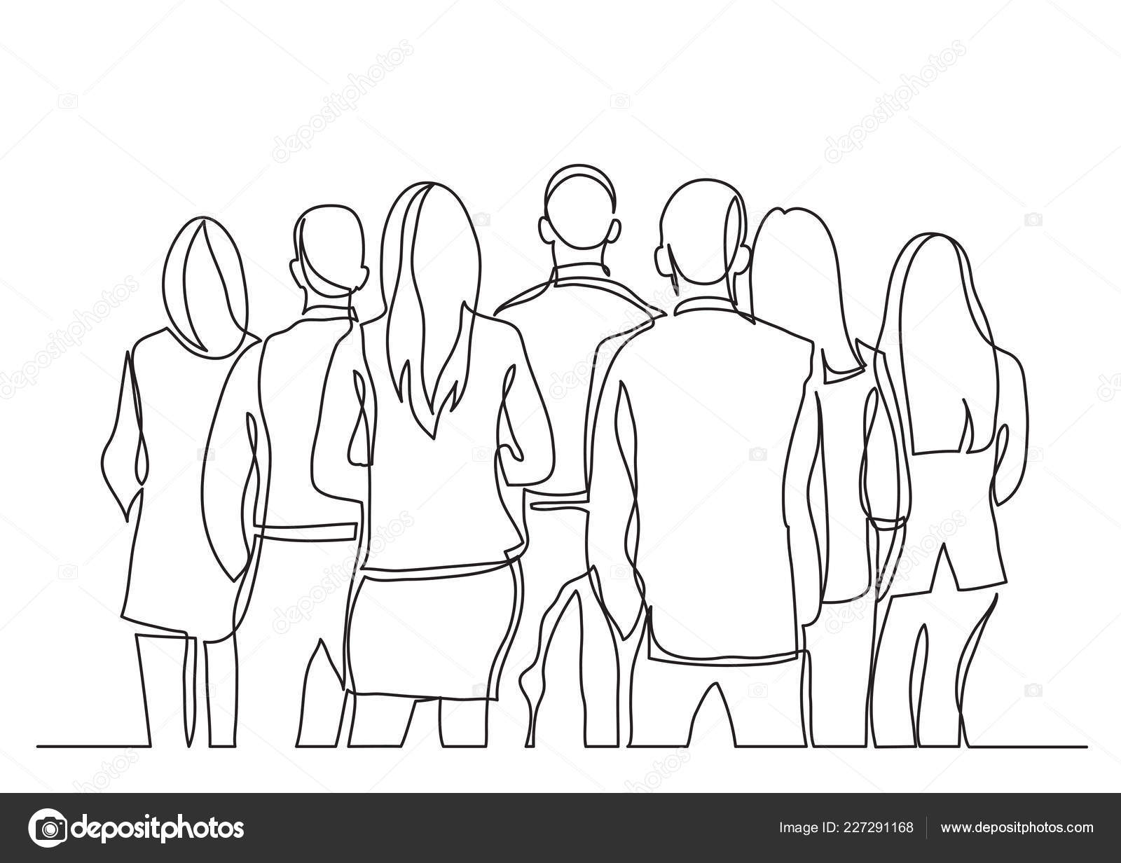Continuous Line Drawing Business Standing Backs Turned Stock