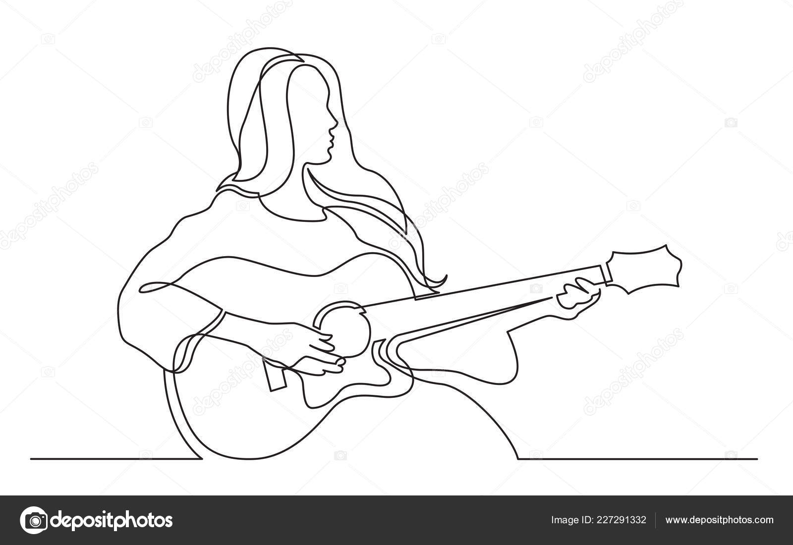 Line Drawing Of Girl Playing Guitar Continuous Line Drawing Girl Playing Acoustic Guitar Stock Vector C One Line Man 227291332