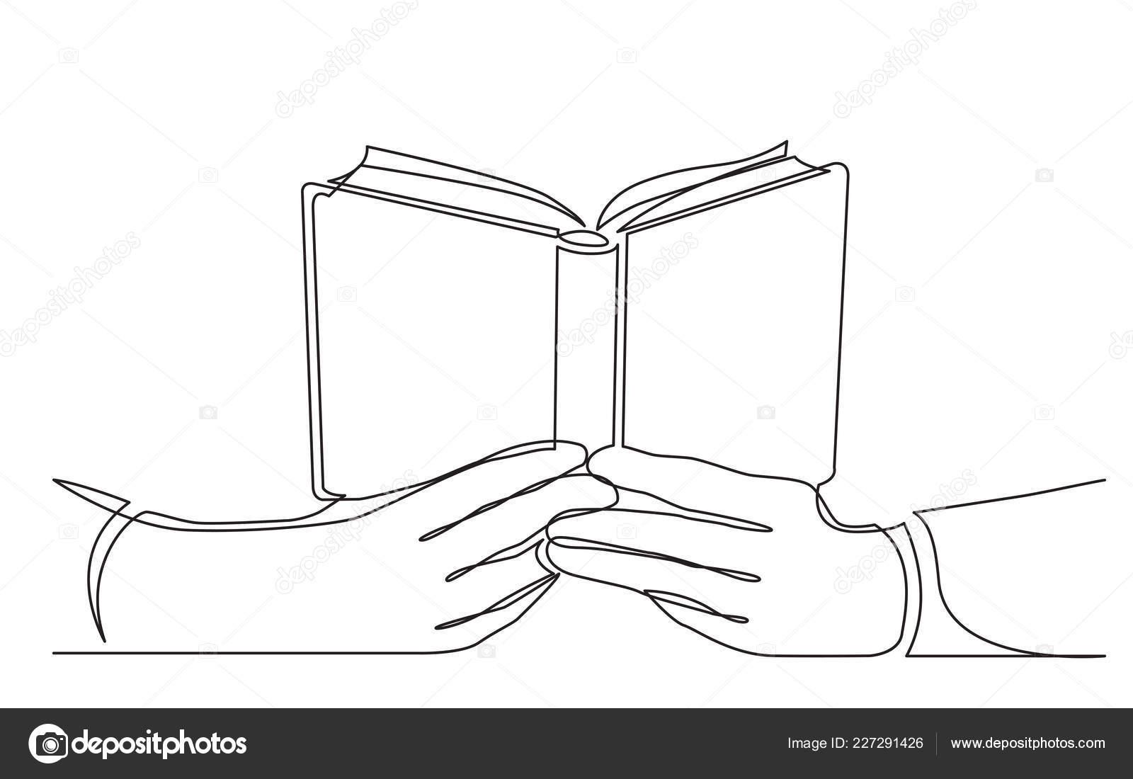 Dessin Trait Continu Des Mains Tenant Livre Ouvert Image