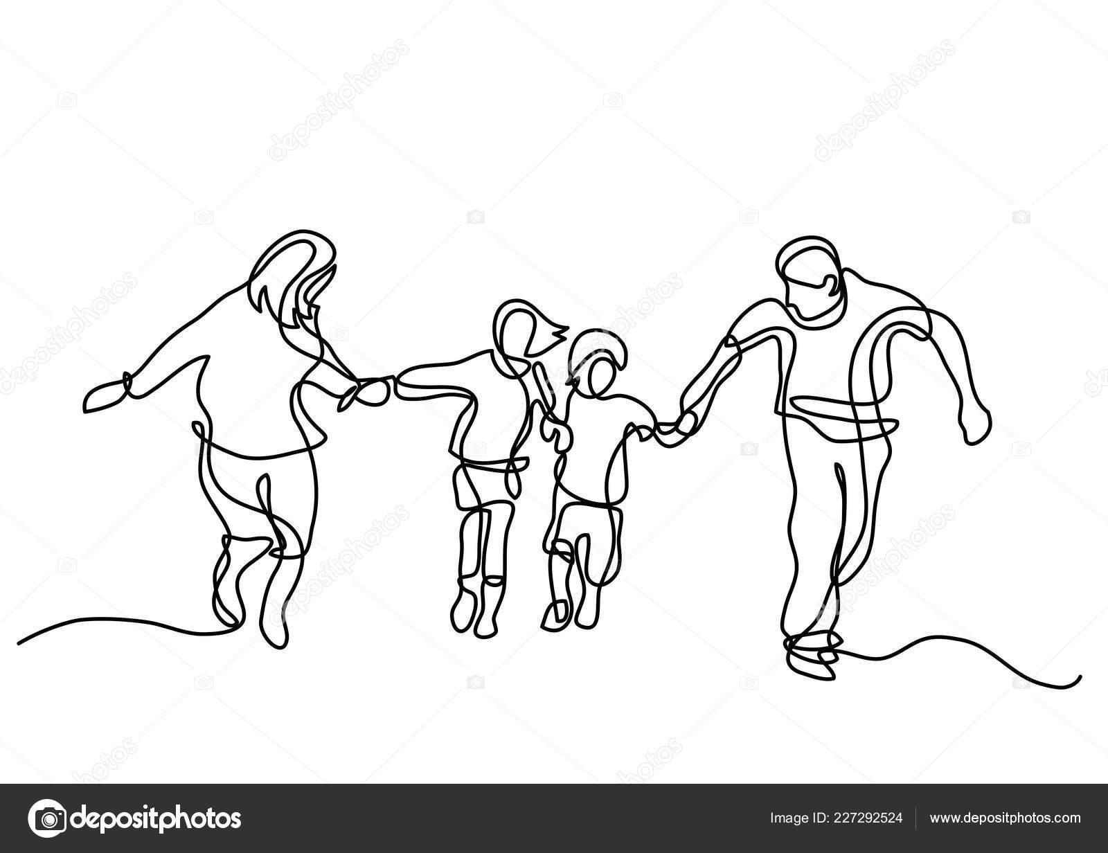 Disegno Linea Continuo Della Famiglia Felice Esecuzione Vettoriali