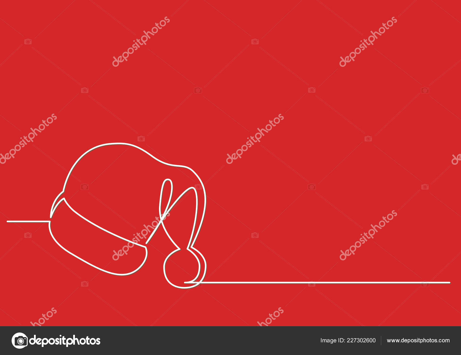 Continuous Line Drawing Santa Claus Hat Stock Vector