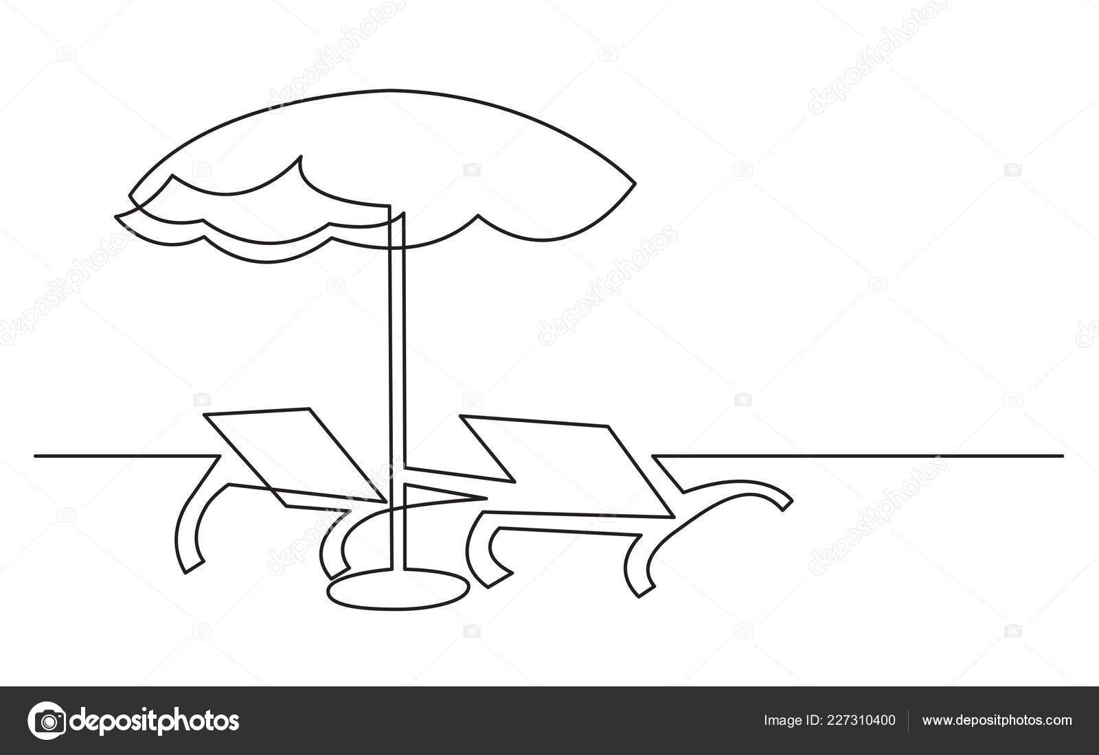Disegno Ombrellone E Sdraio.Disegno Linea Continuo Sdraio Ombrellone Vettoriali Stock