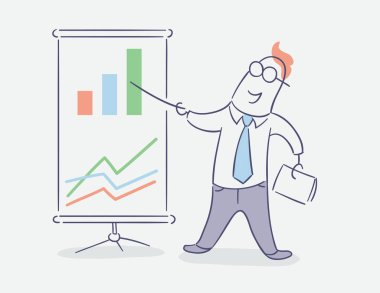flat line character vector design - businessman showing presentation