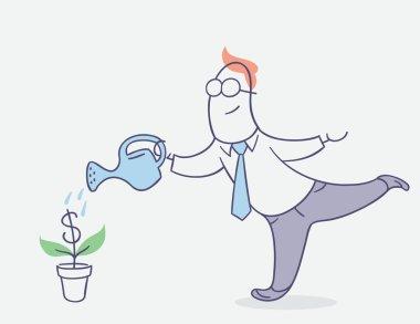 flat line character vector design - businessman watering money tree