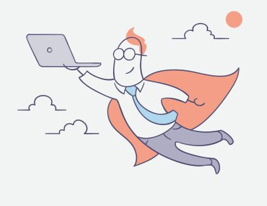 flat line character vector design - businessman hero flying with laptop computer