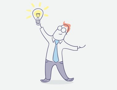 flat line character vector design - happy businessman with bright idea