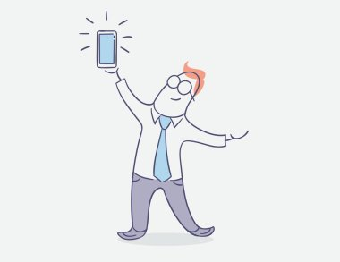 flat line character vector design - happy businessman with smart phone