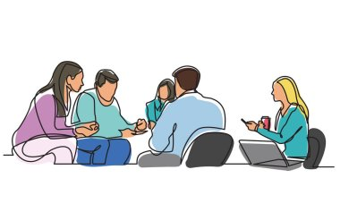 continuous line drawing of work team having meeting