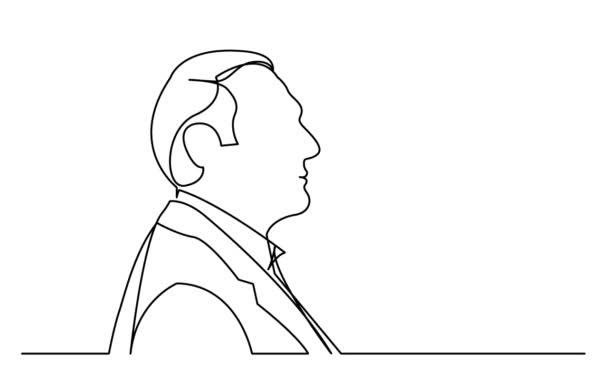 Auto disegno animazione di una linea del ritratto di profilo delluomo