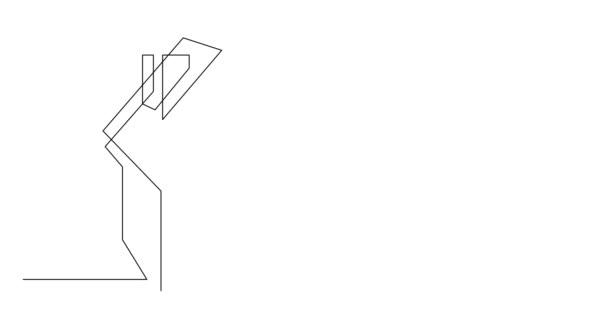 Vlastní kreslení linie animace člověka přemýšlet o koupi domu