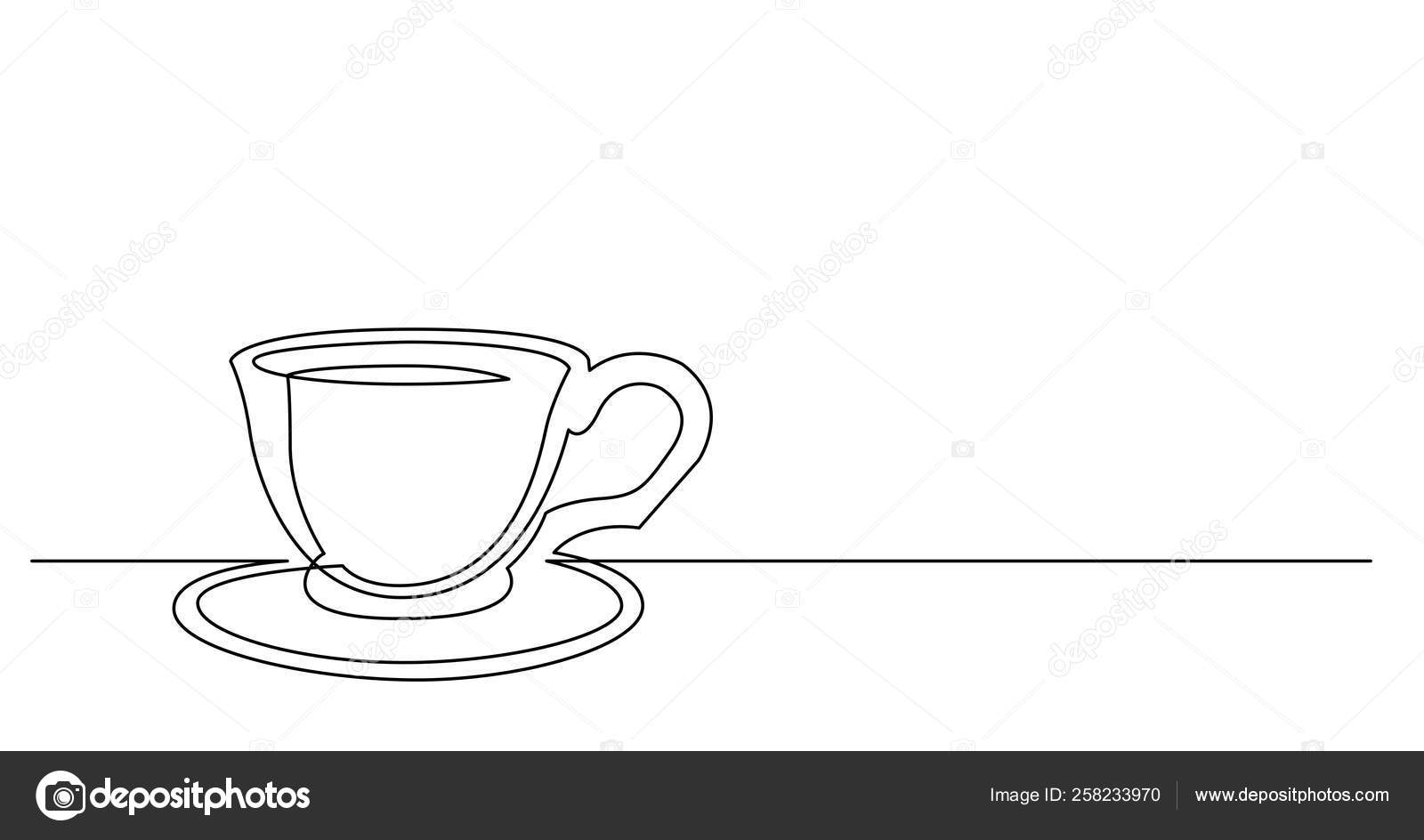 Continuous Line Drawing Of Cup Of Coffee With Saucer Stock Vector C One Line Man 258233970