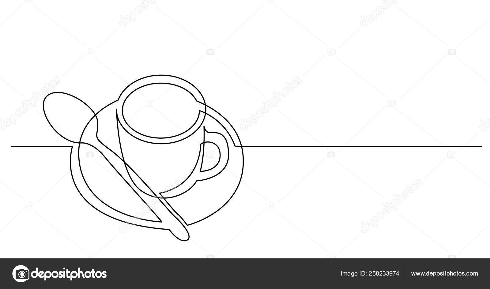 Continuous Line Drawing Of Cup Of Coffee With Spoon And Saucer Stock Vector C One Line Man 258233974