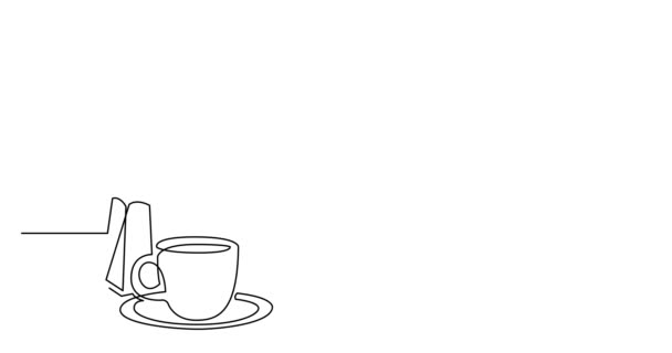 Self drawing line animation of coffee pot grinder and coffee cup
