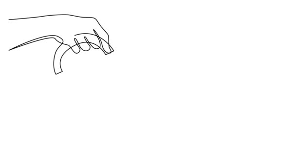 Self drawing line animation of hand holding french press pouring coffee in cup