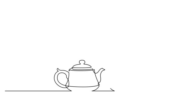 Self drawing line animation of traditional oriental tea pot with cup under sakura brunch