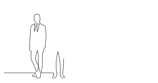 Self drawing line animation of diverse group of standing business professionals