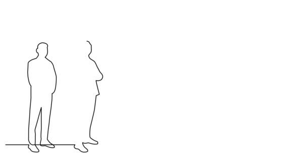 Self drawing line animation of diverse group of standing men