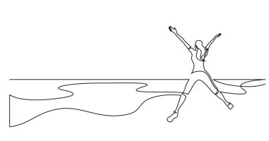 continuous line drawing of healthy young woman jumping joy on sea beach