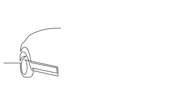 Self drawing line animation of modern powerful luxury suv car