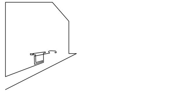 Self drawing line animation of modern spacious bathroom
