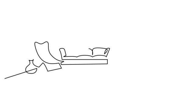 Vlastní kreslení čáry animace prostorného obývacího pokoje s nábytkem