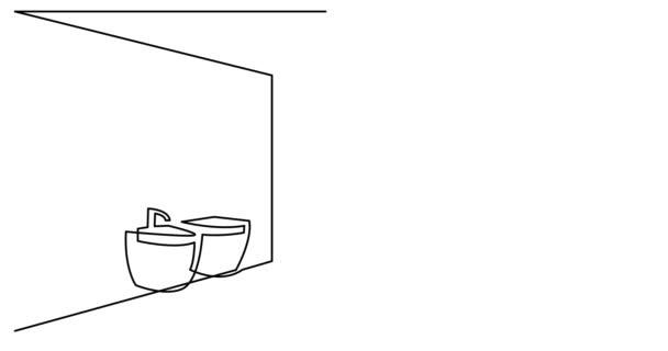 Vlastní kreslení čára animace prostorné koupelny