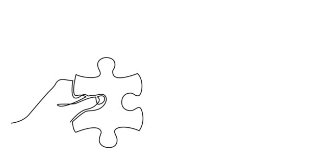 Self drawing line animation of two hands with puzzle pieces connecting together