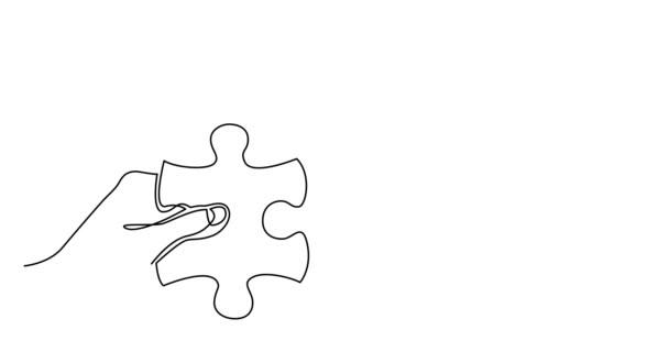Vlastní kreslení čáry animace dvou rukou s kousky skládačky spojující