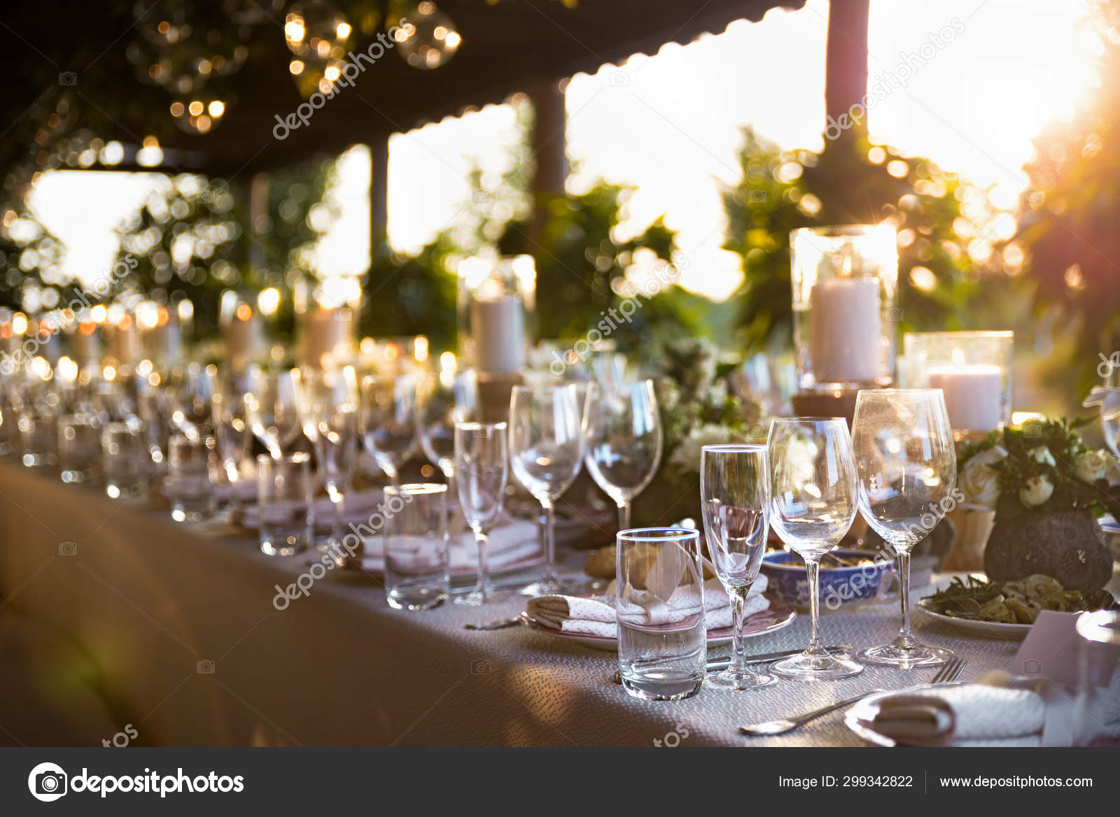 Outdoor Wedding Celebration At A Restaurant Festive Table Setting Catering Wedding In Rustic Style In Summer Beautiful Small Bouquets On A Table Stock Photo C Izik Md 299342822