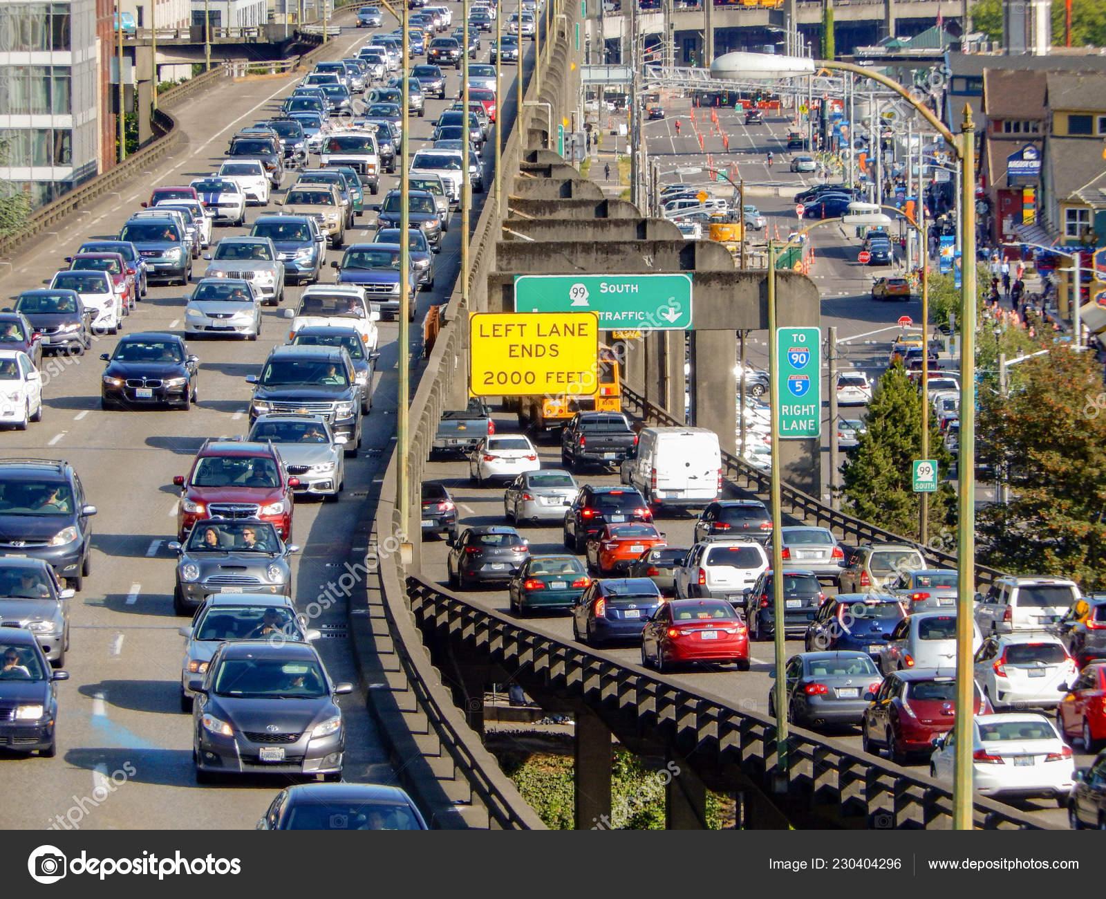 Seattle Usa June 2018 Heavy Rush Hour Traffic Centre Seattle