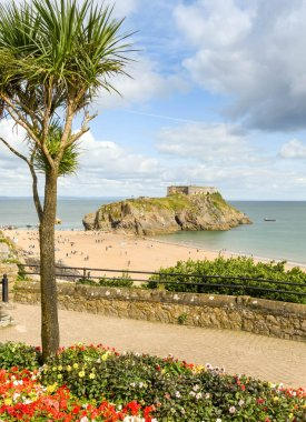 TENBY, PEMBROKESHIRE, WALES - AUGUST 2018: Scenic view of St Catherine's Island and Castle Beach in Tenby, West Wales, with a flower bed and a palm tree in the foreground.