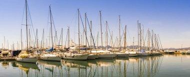 Panorama of sailing yachts in Saint Raphael