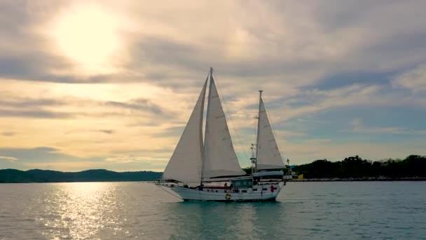 beautiful white sailboat off the coast of Koh Samui. Shot by drone