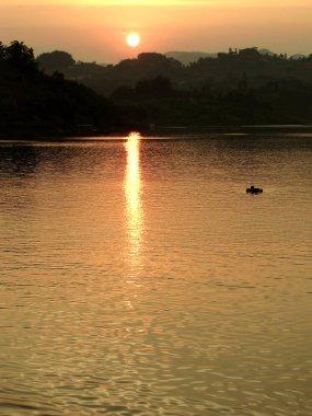 beautiful sunset on the lake.