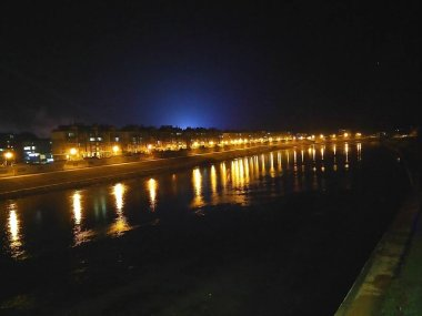 night view of the city of the bridge in the evening