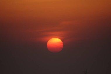 picturesque sunset landscape , evening colors