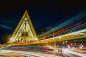 éjszakai kilátás a város a lujiazui fények a híd este