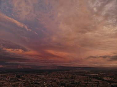 beautiful sunset over the city of the evening
