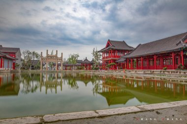 traditional chinese pavilion in the city of china