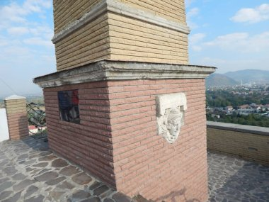 The eleventh century castle on the volcanic mountain, architecture and elements