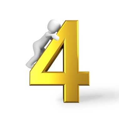 the number 4 four in golden letters