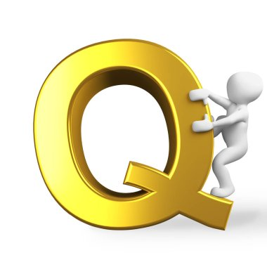 the letter Q in  golden letters