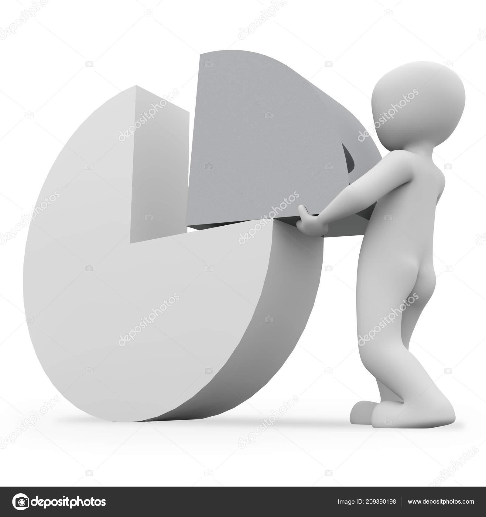 Man Making Pie Chart Stock Photo 3d Agentur 209390198
