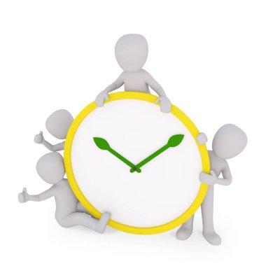 man presenting a big clock