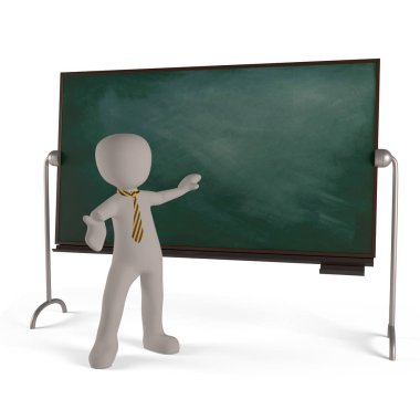 teacher pointing at board