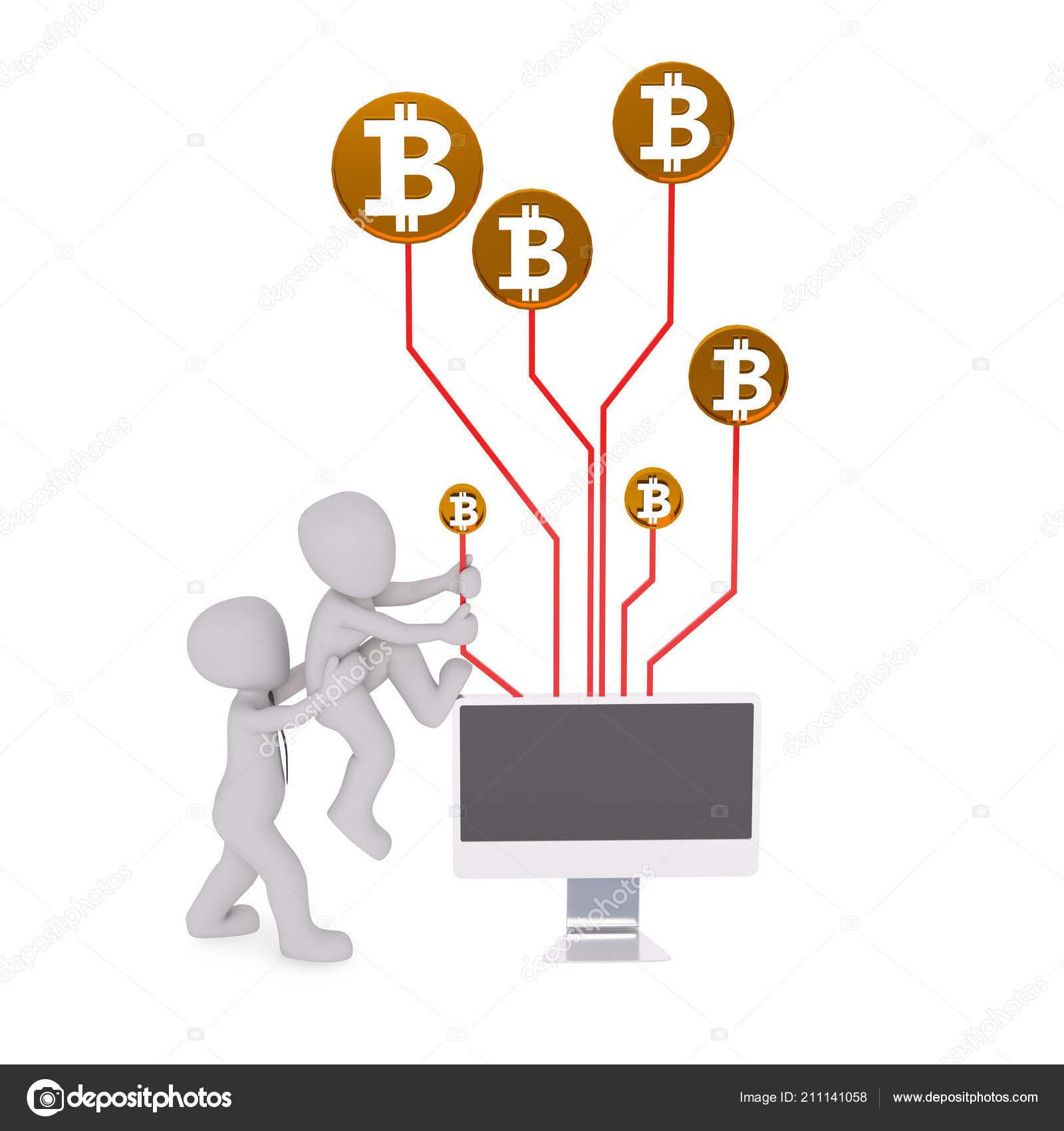 Earn Money Bitcoin Mining Computer Stock Editorial Photo C 3d -